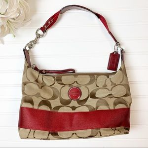 Coach Signature F17434 Stripe Hobo Handbag Red